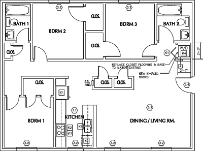 Unit A1 - Three Bedroom / Two Bath - W/D*