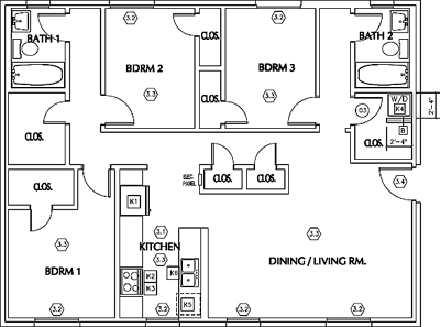 Unit A3 - Three Bedroom / Two Bath - W/D*